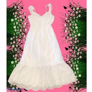 Sincerely Jules White Eyelet Long Flowy Midi Dress